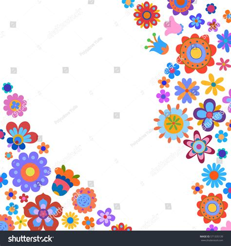 any design of flowers greeting card naive style colorful flowers stock vector