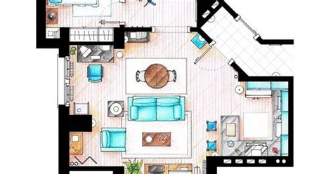 seinfeld apartment floor plan hand rendered floor plan black and white google search