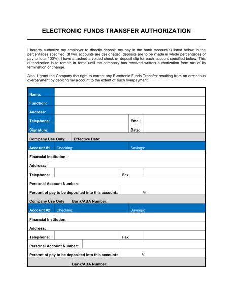 5 Generic Direct Deposit Form Templates Formats Exles In Word Excel Direct Deposit Template