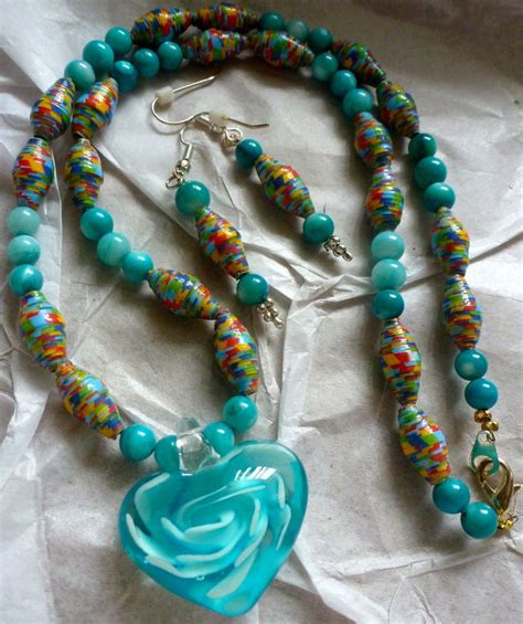 Paper Bead - turquoise paper bead and glass bead necklace with