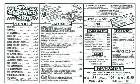 the sandwich shop menu modesto dineries