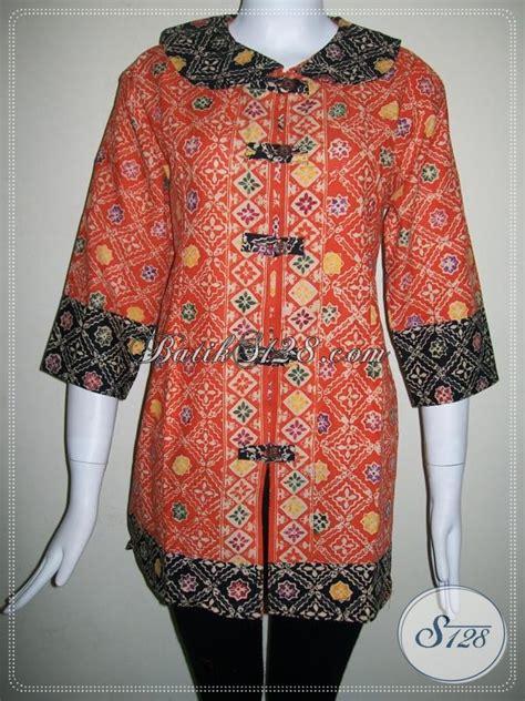 trend warna kain 2014 blus batik warna orange trend 2014 untuk kerja kantor