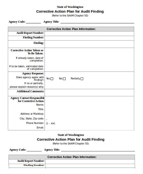 corrective action plan template 14 free sle exle