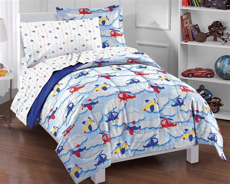 boys bedding twin new planes and clouds blue boys bedding comforter sheet set twin ebay