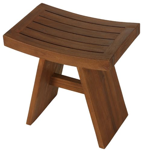 sofi shower stool in solid teak wood