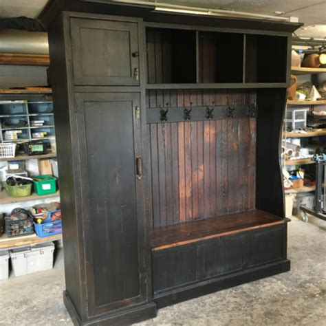 Hall Tree With Side Gun Cabinet   Furniture From The Barn