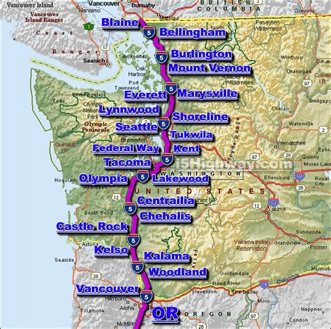 map of interstate 5 through oregon i 5 washington state traffic map