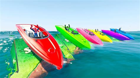 boat cartoon colors learn color boats motorcycles and trucks with superheroes