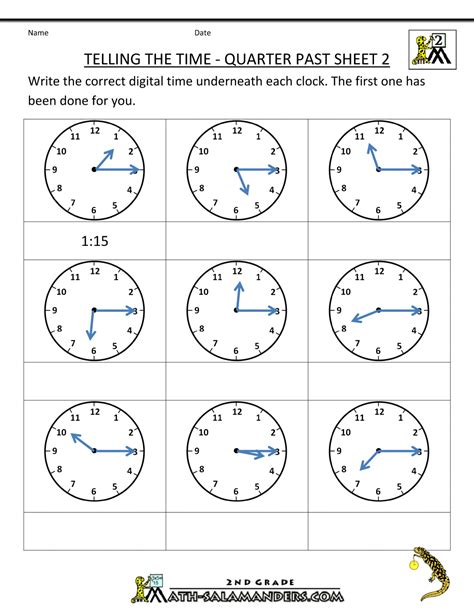 Time To The Hour Worksheets by Clock Worksheets Quarter Past And Quarter To