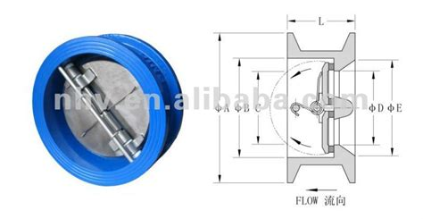 spring loaded swing check valve dn50 dn150 dual plate wafer type spring loaded check valve