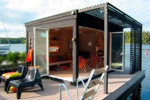 Solar Outdoor Lighting System - a tiny modern floating cabin powered by photovoltaic s