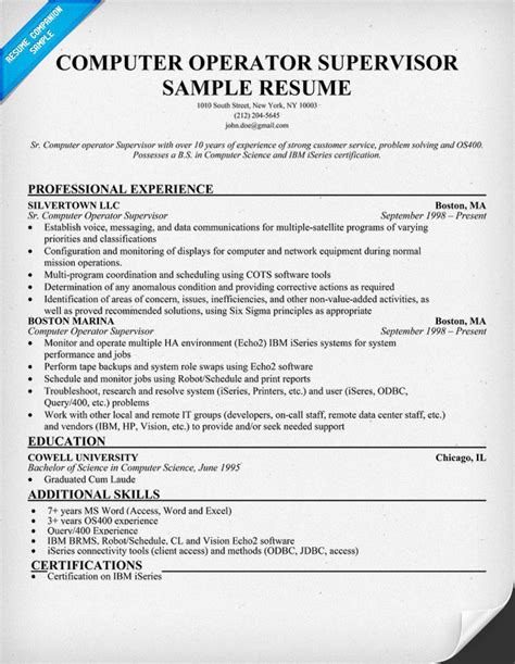 resume for computer operator sle machinist resumes