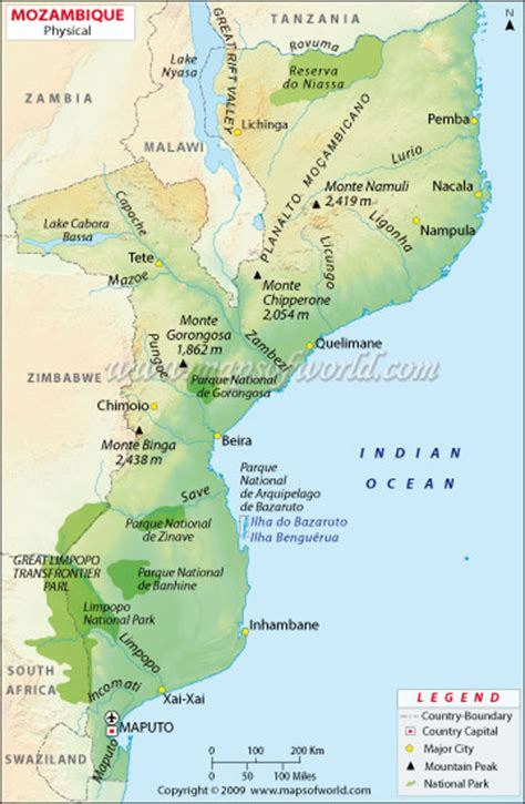 physical map of mozambique mozambique physical map