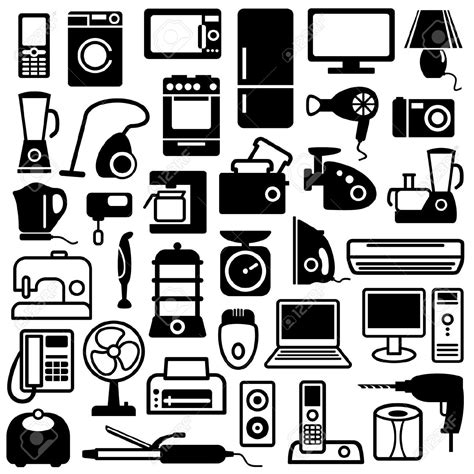 vintage home appliances icons stock vector illustration electrical appliances clipart clipground