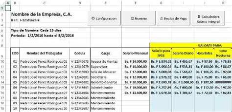 plantillas nominas plantillas excel nomina y c 225 lculos salariales venezuela