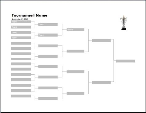 Tournament Chart Template by Ms Excel Tournament Bracket Template Word Excel Templates