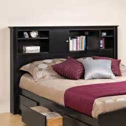 prepac kallisto full queen bookcase black finish headboard