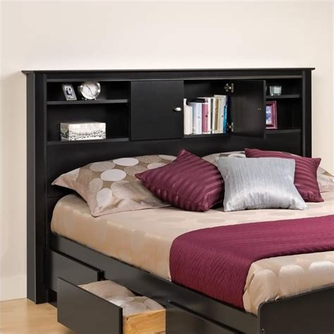 headboard with shelf prepac kallisto full queen bookcase black finish headboard