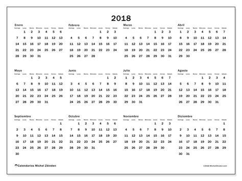 Calendario Anual 2018 Gratis Calendarios Para 2018 Para Imprimir