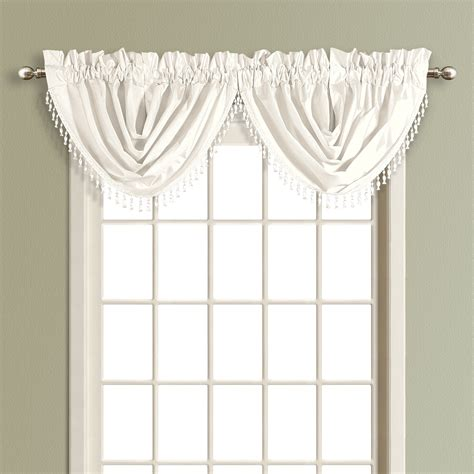 White Valance Curtains United Curtain Co Waterfall Valance Color White Anwfwh