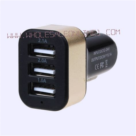 Charger Adaptor 3 Port Usb 2a 1 usb universal car charger adapter 3 port 2a 2 1a 1a 1ct black gold color