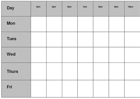 blank revision timetable template revision timetable template blank calendar template 2016