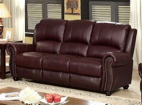 burgundy leather sofa nailhead trim carlton traditional burgundy sofa in top grain leather