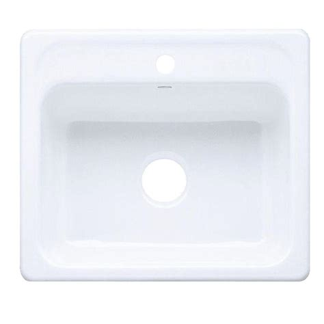white single bowl kitchen sink kohler mayfield drop in cast iron 25 in 1 hole single
