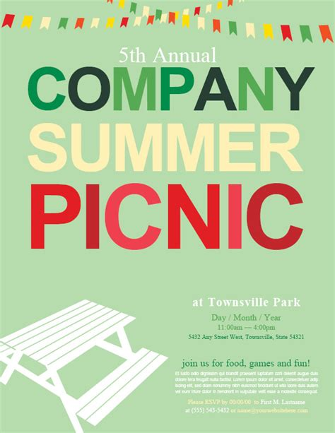 Picnic Flyers Templates Beneficialholdings Info Summer Picnic Flyer Template