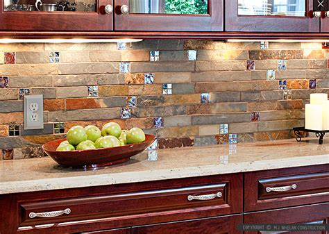slate mosaic brown kitchen backsplash tile