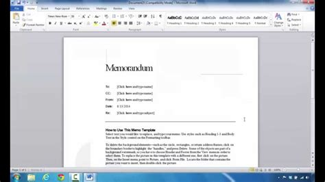 Memo Template In Word 2013 How To Create A Memo In Microsoft Word 2010