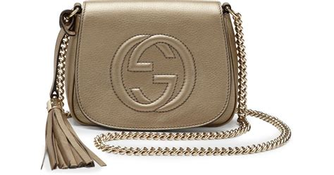 Gucci Soho Leather Backpack Ss17 18 gucci soho metallic leather chain crossbody bag in lyst