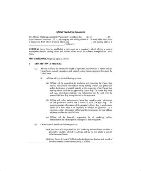 sle marketing agreement template 20 marketing agreement template free sle exle