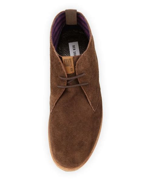 ben sherman aberdeen leather chukka boot in brown for