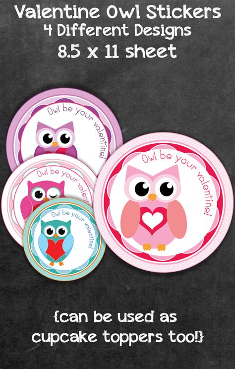 printable owl treat bag topper free valentine s day owl label and treat bag topper