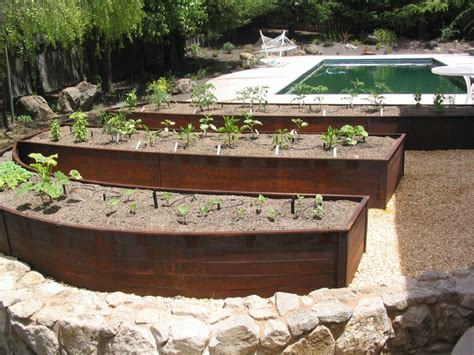 corten rusted steel raised bed planters outdoors pinterest