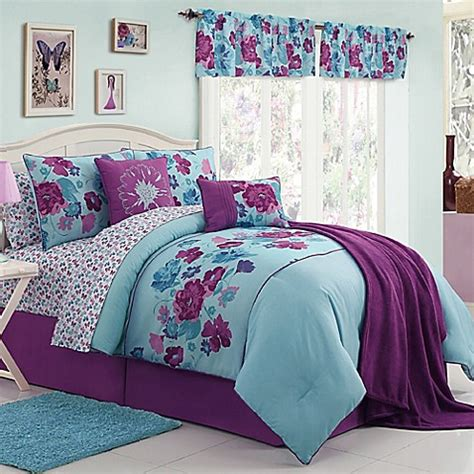 purple and blue comforter vcny 11 13 piece lilian comforter set bed bath beyond