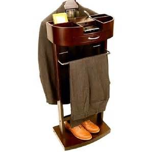 Mens suit stand valet organizer wood bedroom rack hanger wardrobe clothes walnut what s it worth