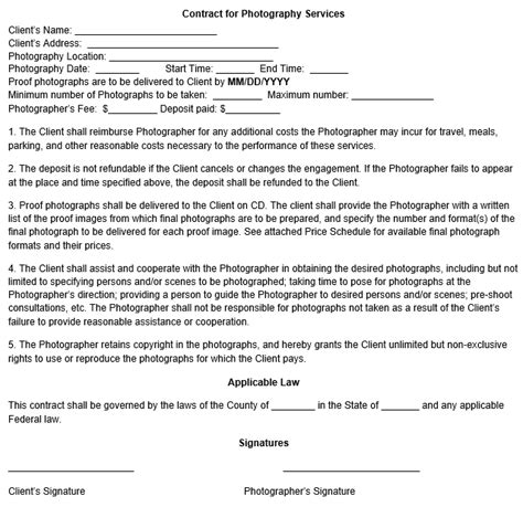 copyright contract template free copyright sle photography contract
