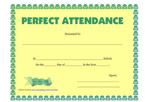 Perfect Attendance Certificate Printable Free Download D Templates Attendance Award Template