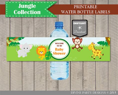 printable jungle animal labels instant download jungle animal baby shower water bottle