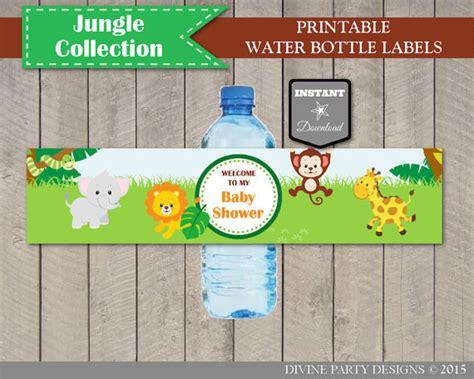 printable jungle animal labels instant download jungle animal baby shower water bottle labels