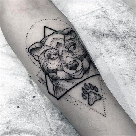 geometric tattoo meaning family geometric bear claw dotwork design tattoo on mans forearm