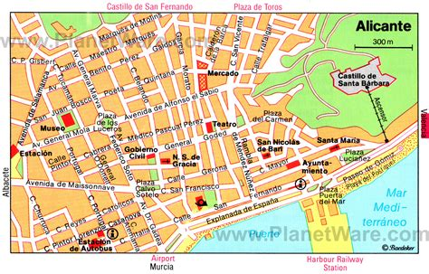 map of alicante city alicante spain cruise port of call
