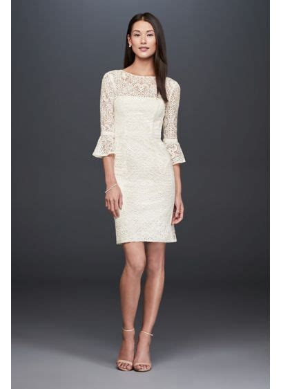 Casual Wedding Pictures by Illusion Lace Dress With 3 4 Bell Sleeves David S