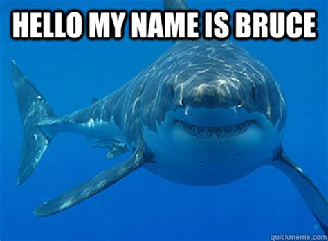 Hi My Name Is Meme - hello my name is bruce shinfo shark quickmeme