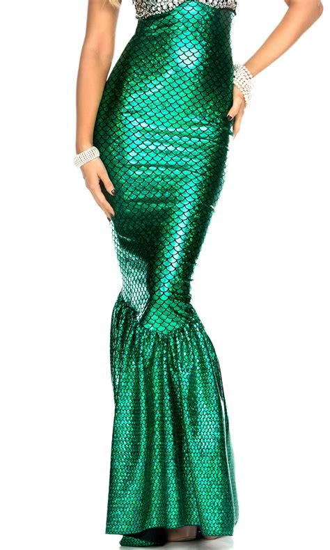 green high waisted mermaid skirt with hologram finish