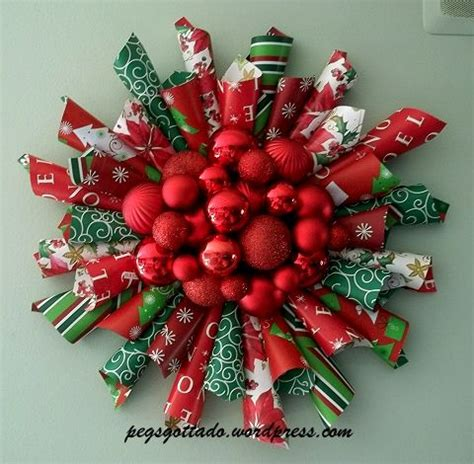 christmas decorations with tissue paper wrapping paper wreath