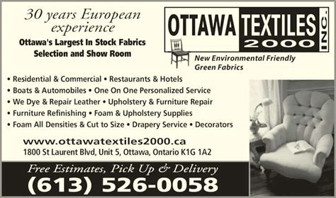 upholstery supplies ottawa ottawa textiles 2000 inc opening hours 5 1800 st