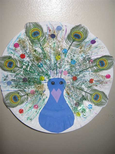 Peacock Paper Plate Craft - sublime shambles of a shell bird crafts
